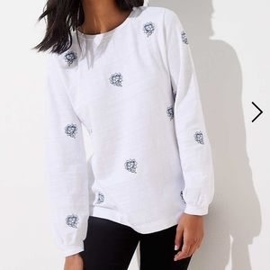 Ann Taylor Loft Floral Embroidered Sweatshirt.